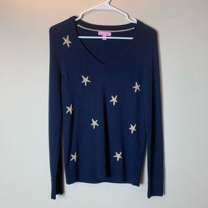 Lilly Pulitzer Navy Blue Metallic Starfish Sweater